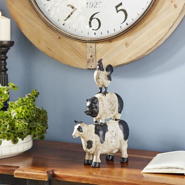"""Studio 350 Stacked Farm Animal Statue Farmhouse Decor, 8.5"""" x 14"""""""