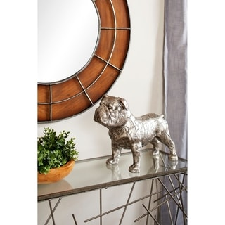 "Studio 350 Metallic Bulldog Statue with Crackle Texture, 17"" x 13.5"""