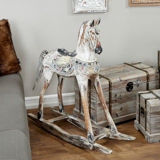 Studio 350 Handmade Vintage Wooden Rocking Horse with Ornamental Saddle