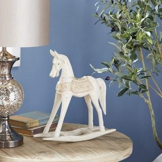 "Studio 350 Vintage Style Wooden Rocking Horse Sculpture, 14"" x 15"""