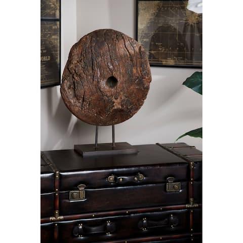 Studio 350 Water Chuck Wheel Reclaimed Wood Sculpture on Metal Stand