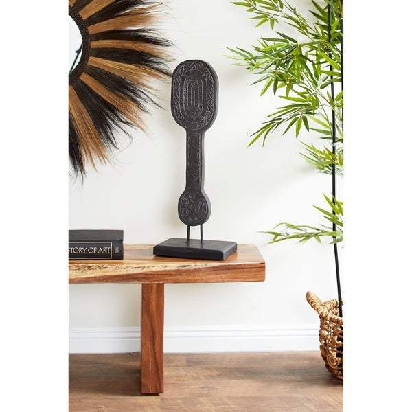 Studio 350 Hand-Carved Tribal Paddle Reclaimed Wood Sculpture on Reclaimed Wood Stand
