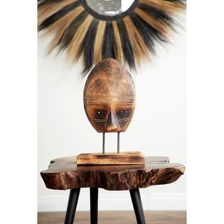 Studio 350 Carved Tribal Mask Reclaimed Wood Sculpture on Acacia Wood Stand