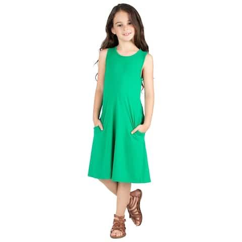 24seven Comfort Apparel Girls Sleeveless Pocket Swing Dress Machine Washable