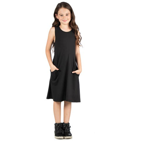 24seven Comfort Apparel Girls Sleeveless Pocket Swing Dress Machine Washable