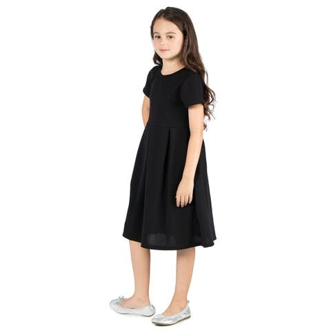 24seven Comfort Apparel Girls Short Sleeve Pleated Party Dress Machine Washable