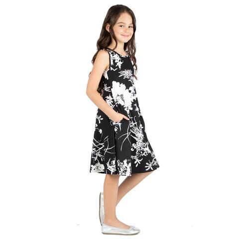 24seven Comfort Apparel Girls Black Floral Tank Dress Machine Washable