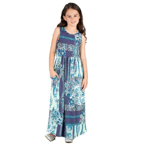 24seven Comfort Apparel Girls Maxi Dress Machine Washable