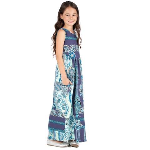 24seven Comfort Apparel Girls Maxi Dress Machine Washable