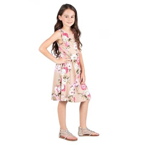 24seven Comfort Apparel Girls Floral Tankt Dress Machine Washable
