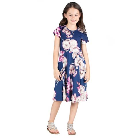 24seven Comfort Apparel Girls Floral Blue Dress Machine Washable