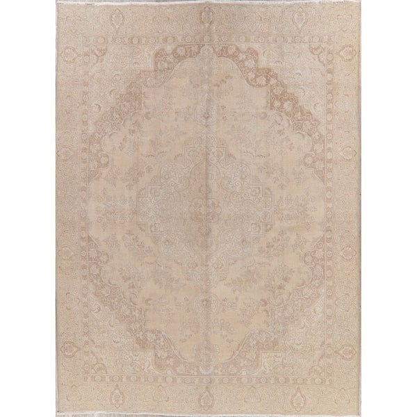 "Tabriz Oriental Hand Knotted Muted Distressed Persian Vintage Area Rug - 12'1"" x 8'11"""