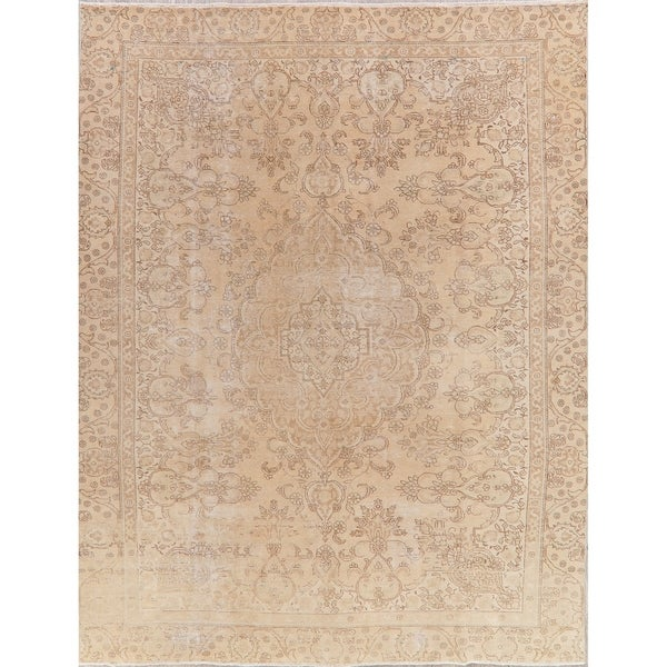 """Tabriz Oriental Antique Hand Knotted Muted Distressed Persian Area Rug - 12'0"""" x 9'2"""""""
