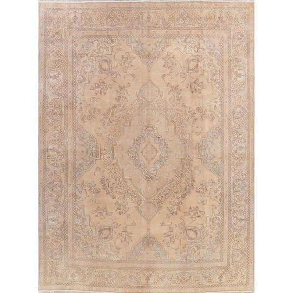 "Vintage Tabriz Oriental Hand Knotted Muted Distressed Persian Area Rug - 12'6"" x 9'2"""
