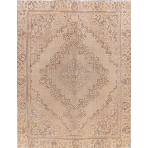 """Tabriz Oriental Vintage Hand Knotted Wool Muted Distressed Persian Rug - 11'5"""" x 8'10"""""""