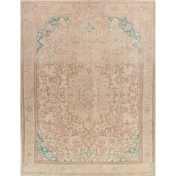 """Muted Tabriz Oriental Hand Knotted Persian Vintage Distressed Area Rug - 12'5"""" x 9'3"""""""