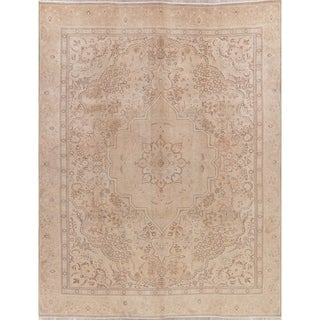 """Tabriz Oriental Hand Knotted Muted Distressed Persian Area Rug Vintage - 12'1"""" x 9'5"""""""