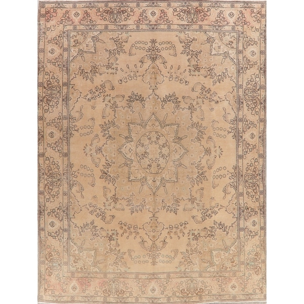 """Muted Distressed Tabriz Oriental Hand Knotted Persian Area Rug Vintage - 12'11"""" x 9'7"""""""
