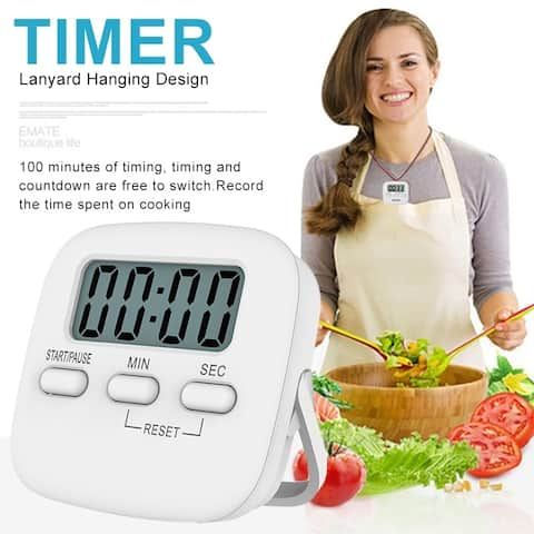 LCD Digital Kitchen Baking Timer Magnetic Absorption Cooking Count Down Up Loud Alarm