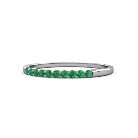 TriJewels Emerald 10 Stone Wedding Band Stackable 0.22 ctw 14KW Gold
