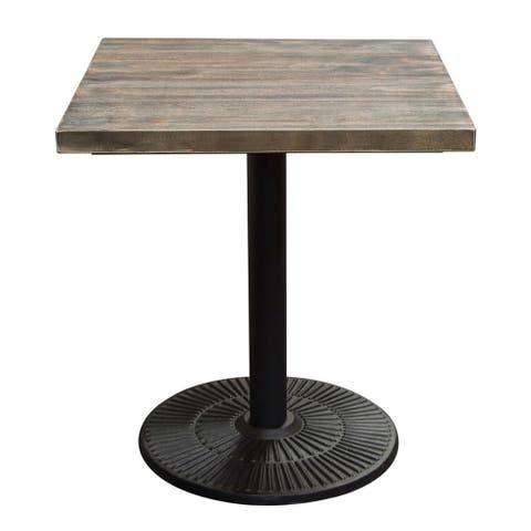 Pine Wood Square Table with Iron Pedestal Style Base, Brown and Black