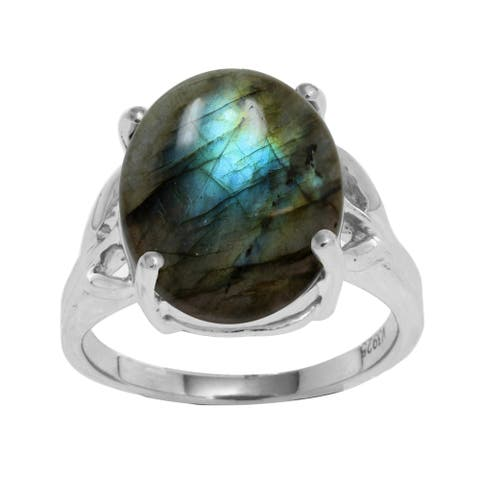 Sterling Silver with Natural Labradorite Solitaire Ring