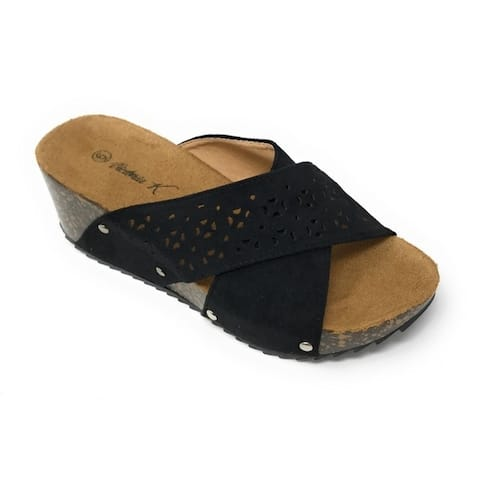 Fashion wedge cork/foot bed slippers