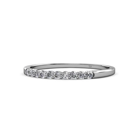 TriJewels Diamond 10 Stone Wedding Band 0.30 ctw 14KW Gold