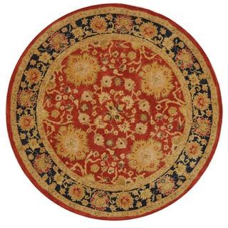 Safavieh Handmade Anatolia Oriental Oushak Traditional Red Hand-spun Wool Rug (8' Round)