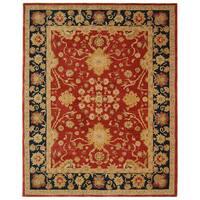 Safavieh Handmade Anatolia Oriental Oushak Traditional Red Hand-spun Wool Rug - 9' x 12'