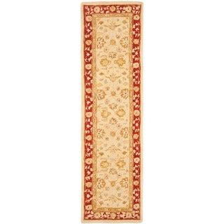 Safavieh Handmade Anatolia Oriental Ivory/ Red Hand-spun Wool Runner (2'3 x 8')