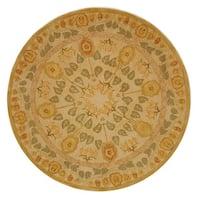Safavieh Handmade Anatolia Oriental Traditional Ivory/ Green Hand-spun Wool Rug (6' Round)