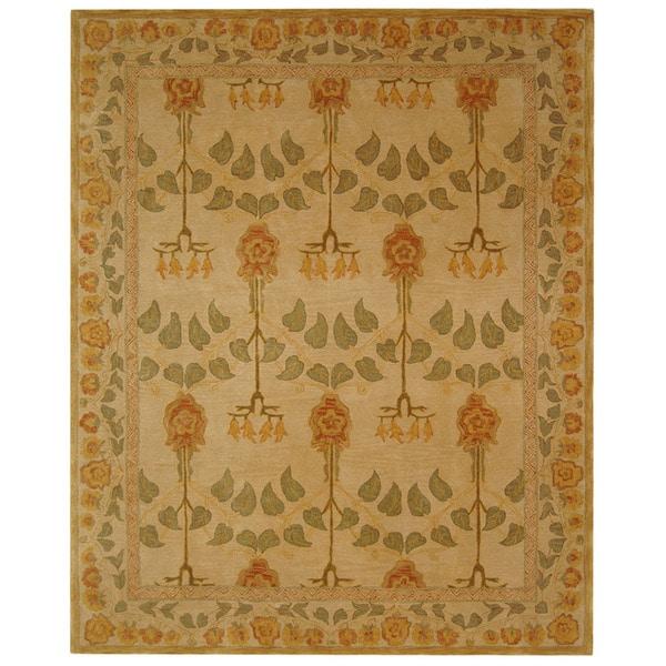 Safavieh Handmade Anatolia Oriental Traditional Ivory/ Green Hand-spun Wool Rug (9'6 x 13'6)