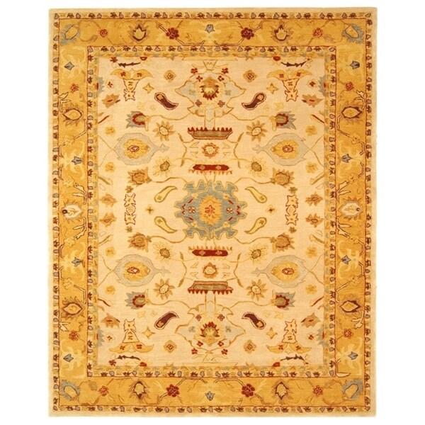 "Safavieh Handmade Anatolia Oriental Traditional Ivory/ Gold Hand-spun Wool Rug - 9'6"" x 13'6"""