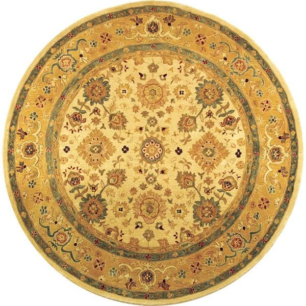 Safavieh Handmade Anatolia Oriental Heirloom Ivory/ Gold Hand-spun Wool Rug (6' Round)