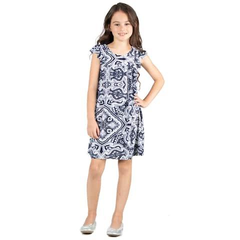 24seven Comfort Apparel Girls Paisley Dress Machine Washable