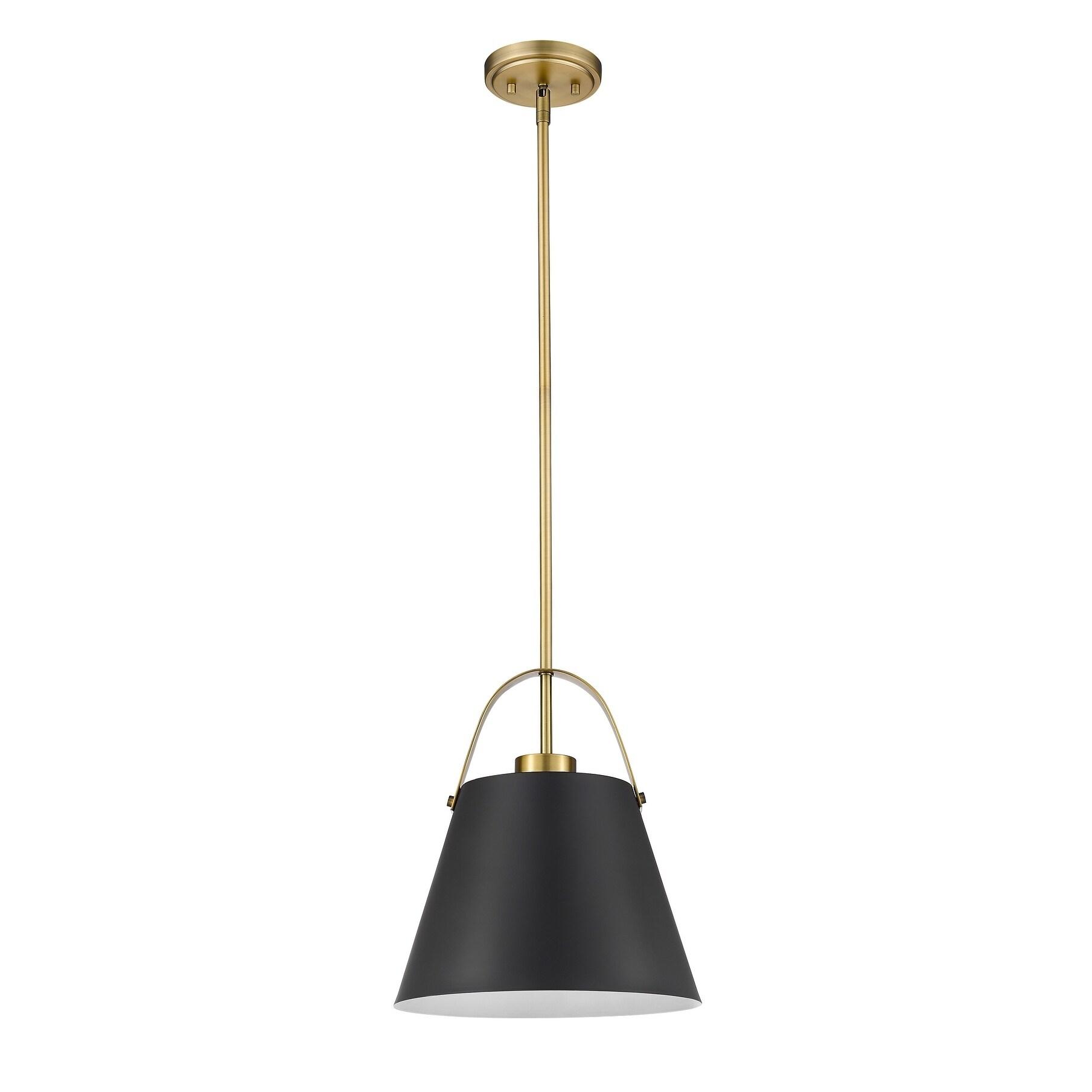 Z Studio 1 Light Pendant In Matte Black Heritage Brass Overstock 28593353