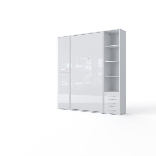Invento Vertical Wall Bed, European Twin Size with 2 cabinets
