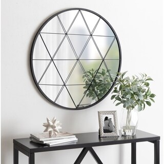 Kate and Laurel Faber Round Accent Mirror - Black - 31.5x31.5