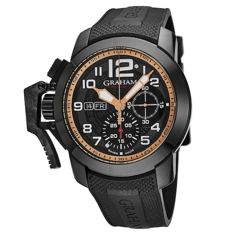 Graham Men's 2CCAU.B31A.K92B 'Chronofighter Oversize Target' Black Tinted Dial Black Rubber Strap Chronograph Automatic Watch