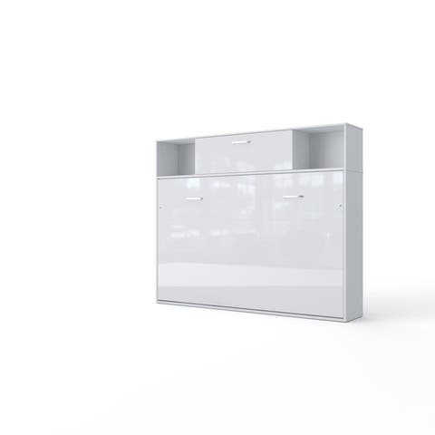 Invento Horizontal Wall Bed, European Full Size with a cabinet on top