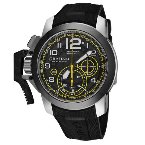 Graham Men's 2CCAC.B16A.K92B 'Chronofighter Oversize Target' Black Tinted Dial Black Rubber Strap Chronograph Automatic Watch