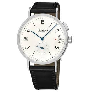 Nomos Men's NOMOS635 'Tangomat GMT' White Dial Black Leather Strap World timer German Made Automatic Watch