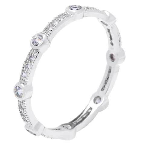 Silver Eternity Stack-able Silver CZ Band Ring by Simon Frank Designs
