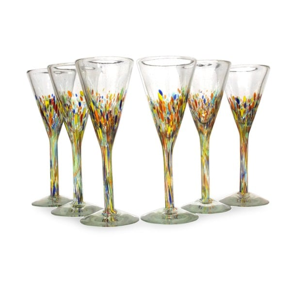 6 Piece Set Of Speckled Barware Unique Confetti Carnival Modern Hand Blown  Glass Champagne