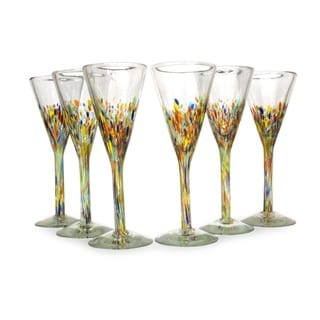 Multicolor Specks Barware Hostess Gift Set of Six Unique Confetti Carnival Modern Handblown Glass Champagne Flutes (Mexico)