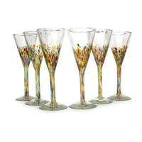 Handmade 6-piece Set of Speckled Barware Unique Confetti Carnival Modern Hand-blown Glass Champagne Flutes (Mexico)