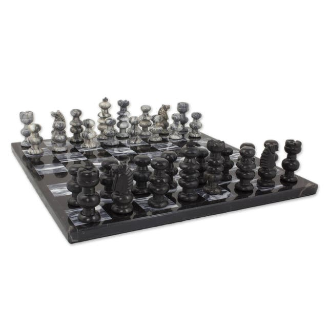 Check in Gray' Onyx and Marble Chess Set  - Black/White - N/A