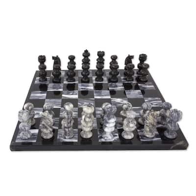 NOVICA Handmade Gray Onyx and Marble Chess Set (Mexico) - Black