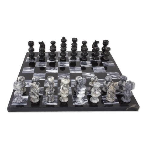 Handmade Gray Onyx and Marble Chess Set (Mexico) - Black